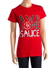 This Red 'Awesome Sauce' Sriracha Tee - Juniors by Trau & Loevner is perfect! #zulilyfinds