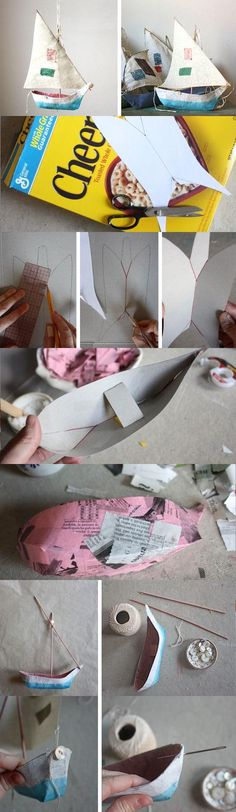 Diy - how to make - beach - nautical - paper Mache Boat Pattern - decorations - projects - handmade Paper Clay, Diy Paper, Paper Art, Paper Mache Projects, Paper Mache Crafts, Origami, Diy For Kids, Crafts For Kids, Arts And Crafts