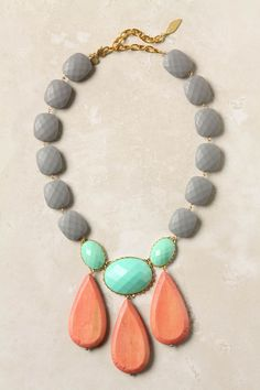 always love one bold piece of jewelry to add a splash of color, anthropologie moche necklace Jewelry Box, Jewelry Accessories, Fashion Accessories, Jewelry Necklaces, Fashion Jewelry, Jewelry Design, Jewelry Making, Bracelets, Chunky Necklaces