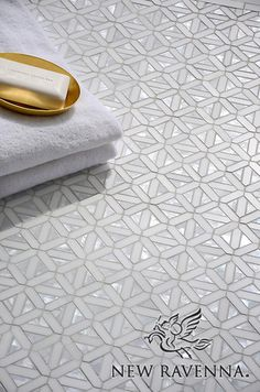 Joie, a handmade mosaic shown in polished Cloud Nine, Dolomite and Shell, is part of the Aurora™ Collection by Sara Baldwin for New Ravenna. Stone Mosaic, Mosaic Glass, Mosaic Tiles, Tiling, Mosaic Floors, Marble Tiles, Mosaic Bathroom, Bathroom Flooring, Master Bathroom