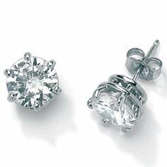 PalmBeach Jewelry 4.00 TCW Round Cubic Zirconia Platinum over Sterling Silver Stud Earrings Palm Beach Jewelry. $29.95