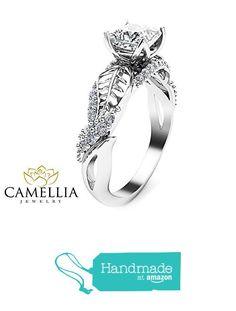 Princess Cut Moissanite Engagement Ring Leaf 14K White Gold Ring with Diamonds from Camellia-Jewelry http://www.amazon.com/dp/B01ARVRNXI/ref=hnd_sw_r_pi_dp_pZswxb0PDGYYQ #handmadeatamazon