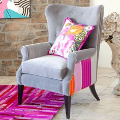 Our Modern Wingback Will Make Your Room Dazzle With This Stunning  Combination Of Fabrics. Features: Designer Fabrics Piping Details High Back  W/covered ...