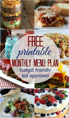 MONTHLY MENU PLAN --