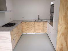 Kitchen doors made from underlayment.