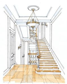 Artwork For Home Decoration Drawing Interior, Interior Design Sketches, Interior Rendering, Sketch Design, Interior Design Services, House Sketch, House Drawing, Architecture Concept Drawings, Classical Architecture