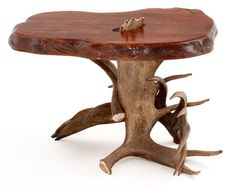 Moose Antler and Redwood End Table