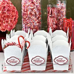 Make It Merry . Sweet Send-Off Treat guests to a grab-and-go candy buffet stocked with an assortment of peppermints. Dress take-out boxes with printable tags. Christmas Candy Bar, Christmas Open House, Christmas Party Favors, Holiday Candy, Christmas Table Decorations, Christmas Wishes, Christmas Treats, Christmas Holidays, Christmas Buffet Tablescapes