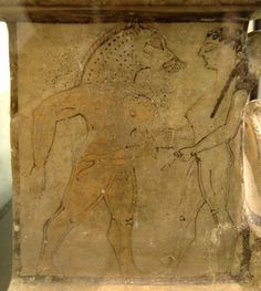Circe causes one of Odysseus's men to shapeshift. Drawing on a small alter from the late 6th century B.C., Sicily (The Odyssey)