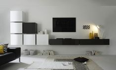 Ensemble TV mural design laqué blanc brillant et anthracite REIMS, Ensemble meuble TV mural design
