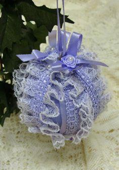 Ruffly lavender/orchid handmade Christmas ornament.