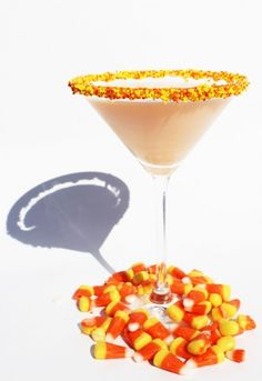Candy Corn Martini for Halloween party drinks Party Drinks, Fun Drinks, Yummy Drinks, Beverages, Mixed Drinks, Alcoholic Drinks, Halloween Cocktails, Halloween Candy, Happy Halloween
