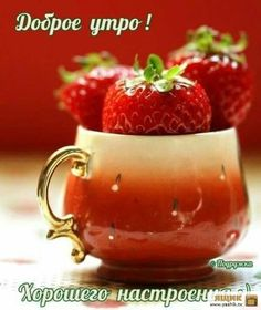 Good Morning Cards, Cute Good Morning, Good Night, Easter Wallpaper, Strawberry, Happy Birthday, Fruit, Tableware, Holiday