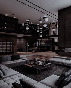 Dream House Interior, Luxury Homes Dream Houses, Dream Home Design, Dark House, Home Building Design, Dream Rooms, House Rooms, Villa, House Styles