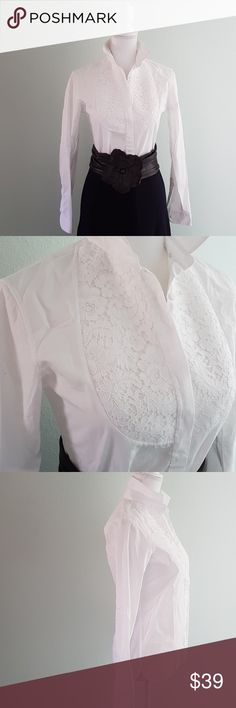 Ermanno Scervino whit button down A different take on your button down - gorgeos bib lace applique.  Like any white shirt, it offers so many possibilities.  In excellent condition.  Italian size 40, runs small. Best fit for S-M. Ermanno Scervino Tops Button Down Shirts