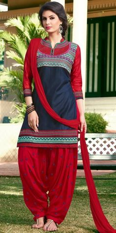 Lovely Red And Navy Blue Cotton Patiala Suit.