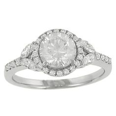 Zeghani Halo Design Round Diamond Engagement Ring with 4 prong Set Marquise Accented Sides Diamond .18cttw (center Stone Not Included)