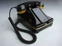 black/gold phone station