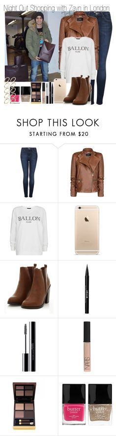 """""""Night Out Shopping woith Zayn"""" by elise-22 ❤ liked on Polyvore featuring Topshop, MANGO, Stila, shu uemura, NARS Cosmetics, Tom Ford, Butter London and ASOS"""