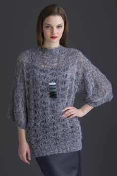 Miranda Pullover in GIOIELLO: Draping drop-stitches are the focal point of this glamorous drop-shoulder knit sweater. Available in sizes Small (Medium/Large, XL/2X, 3X/4X)