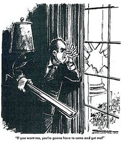 "A Paul Conrad 1970s cartoon depicting President Nixon as a criminal barricaded in the White House with caption, ""If you want me, you're gonna have to come in and get me!"""