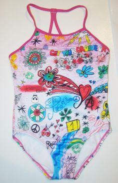 Speedo Doodles Heart Floral Flower Skull Star Peace Multi 1 Pc Swimsuit Girls 12 #Speedo #Swimsuit