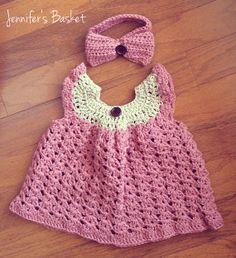 Pink crochet baby dress