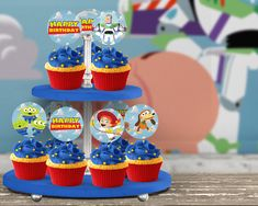 Toy Story Themed Cupcake Toppers: Digital File - Toys for years old happy toys Toy Story Birthday, Third Birthday, 4th Birthday Parties, Birthday Party Decorations, Boy Birthday, Festa Toy Story, Toy Story Party, Toy Story Cupcakes, Blackberry Cake