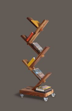 bookshelf with rollers