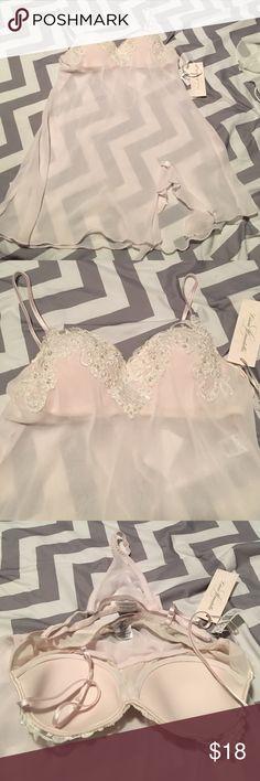 Nwt!!! Gorgeous nightie w/ matching thong! 💕 Absolutely beautiful!!!! Pale pink w/ padded bra top & matching panty. Beading & lace at top. Intimates & Sleepwear Pajamas