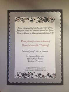 80th birthday invitations - really like the wording on this one