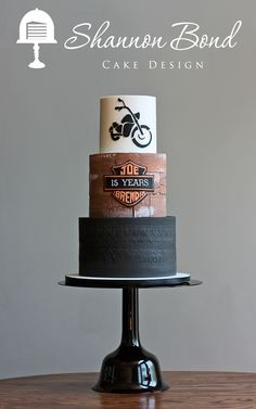 Motorcycle Anniversary Cake www.sbcakedesign.com Shannon Bond Cake Design