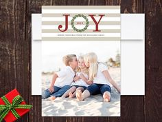 Modern Stripes Christmas Photo Cards by rockpaperdove