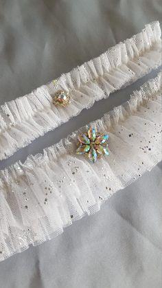 Snowflake Garter Set White Beaded Tulle Wedding Garter by Allofyou