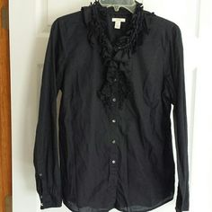 J. Crew  black ruffled blouse Adorable!! This does have very unnoticeable red spot just under last button hole, as shown in picture, and it's size 12 but I wear an 8 and it fits perfectly J. Crew  Tops Button Down Shirts