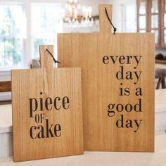 "Wooden material Leather strap for hanging Reads: ""every day is a good day"" Weight - 7.00 lbs. Height - 26.00 in. Width - 17.00 in. Length - 0.75 in. Material - Wood The Good Day Cutting Board Wall Sign is a decorative wooden cutting board perfect gifting a home cook. It features a leather strap perfect for hanging in a kitchen or dining room and reads,""every day is a good day,"" in bold black script. Measures 17"" wide by 26"" high by .75"" deep. Farmhouse Cutting Boards, Diy Cutting Board, Wood Cutting Boards, Wood Projects That Sell, Wall Hanging Crafts, Wooden Snowflakes, Fox Decor, Piece Of Cakes, Wall Signs"