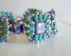 Super Duo Bracelet. Hand Beaded Bracelet. Swarovski Bracelet. Turquoise Bracelet. Unique Bracelet. Colorful Bracelet. Artisan Bracelet