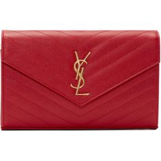 Saint Laurent Red Quilted Monogram Envelope Clutch found on Polyvore featuring bags, handbags, clutches, chain handle handbags, monogrammed envelope clutch, quilted handbags, red quilted handbag and envelope clutch