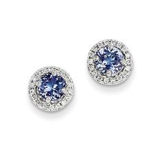 14K White Gold Tanzanite Diamond Post Back Stud Earrings ($532) ❤ liked on Polyvore featuring jewelry, earrings, white gold, white gold post earrings, white gold diamond earrings, tanzanite earrings, 14 karat gold earrings and stud earring set