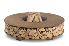 wood fire pit with convenient storage...perfect!