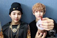 Suga and V <3 /// sugar looks so chubby hudehusfhuef <3 /steals V's coffee