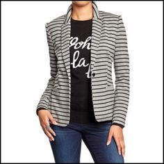 ✨Host Pick!✨ Black and Gray Striped Blazer Brand new, versatile striped blazer for work and/or play   Classic fit Old Navy Jackets & Coats Blazers
