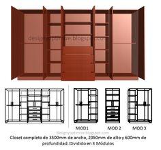 Diseños De Muebles: Armarios, Cocinas, Bibliotecas, Etc.: Fabricación de Closet 3.5 metros | Planos | Lista de Piezas