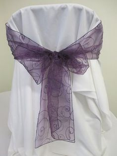 50 Eggplant Embroidered Organza Chair Sashes