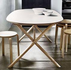 IKEA butcher block table top + hair pin legs. Weird but I really dig ...
