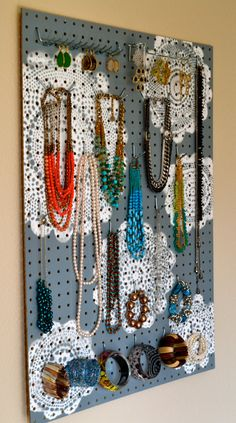 Jewelry Organizer Wall Display, Jewelry Holder, Custom, Hand Painted, Grey. $88.00, via Etsy. https://www.etsy.com/listing/127342213/jewelry-organizer-wall-display-jewelry?ref=shop_home_active
