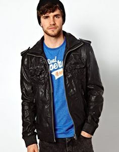 Superdry Leather Bomber Jacket