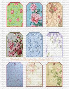 Shabby Chic Tag Digital Image Sheet for by graphicdesignbytara, $1.25