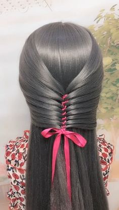 Hair-style knitting skills with ribbons Ribbon tying - Beliebt Haar Und Beauty Summer Hairstyles, Cute Hairstyles, Braided Hairstyles, Beautiful Hairstyles, Girls Back To School Hairstyles, Hairstyles Videos, Ribbon Hairstyle, Hairstyles With Ribbon, Braid Hair