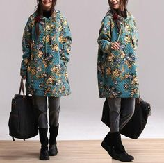Printed grid blue longsleeved cotton coat bat head by dreamyil, $136.00